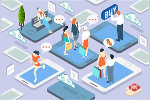 Isometric People Network Concept