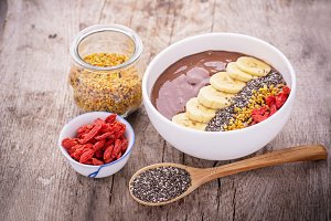 bowl of breakfast with chocolate ban
