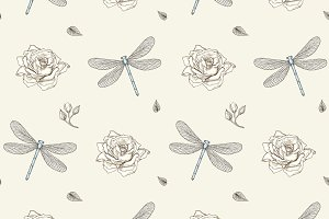Dragonflies & Roses Seamless Pattern