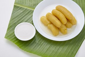 Delicious banana in syrup for Thai