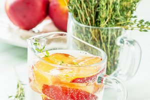 refreshing fizzy drink with slices o