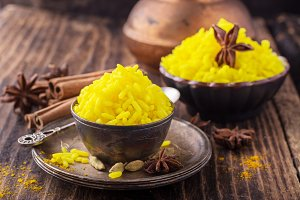 Bright yellow boiled rice with turme