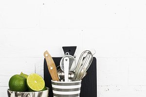 A simple kitchen still life against