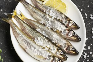 Fresh sea fish smelt or sardines rea