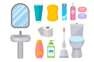 Bath equipment icon toilet bowl bathroom clean flat style illustration hygiene design.