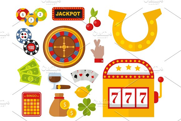 Casino icons set with roulette gambler joker slot machine poker game vector illustration.