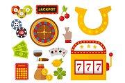 Casino icons set with roulette gambler joker slot machine poker game vector illustration.