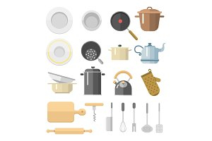 Kitchen dishes vector flat icons isolated household equipment everyday dishes furniture illustration.