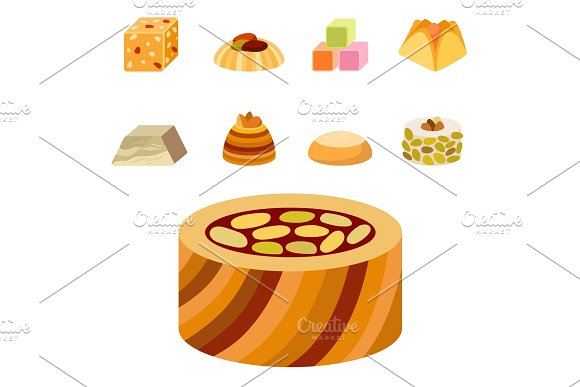 East delicious dessert sweets food eastern confectionery homemade assortment vector illustration cake tasty bakery assortment.