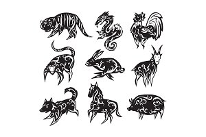 Chinese zodiac eastern calendar traditional china new year oriental animal symbols vector illustrations.