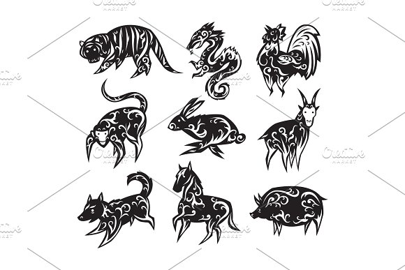 Chinese Zodiac Eastern Calendar Traditional China New Year Oriental Animal Symbols Vector Illustrations