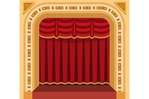 Theater stage with curtains entertainment spotlights theatrical scene interior old opera performance background vector illustration.