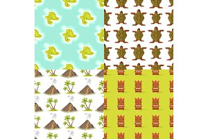 Cartoon tropical exotic island in ocean seamless pattern background exotic lagoon map caribbean aerial sprite seascape tourism paradise coast vector illustration.