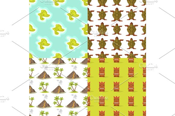 Cartoon tropical exotic island in ocean seamless pattern background exotic lagoon map caribbean aerial sprite seascape tourism paradise coast vector illustration. in Illustrations