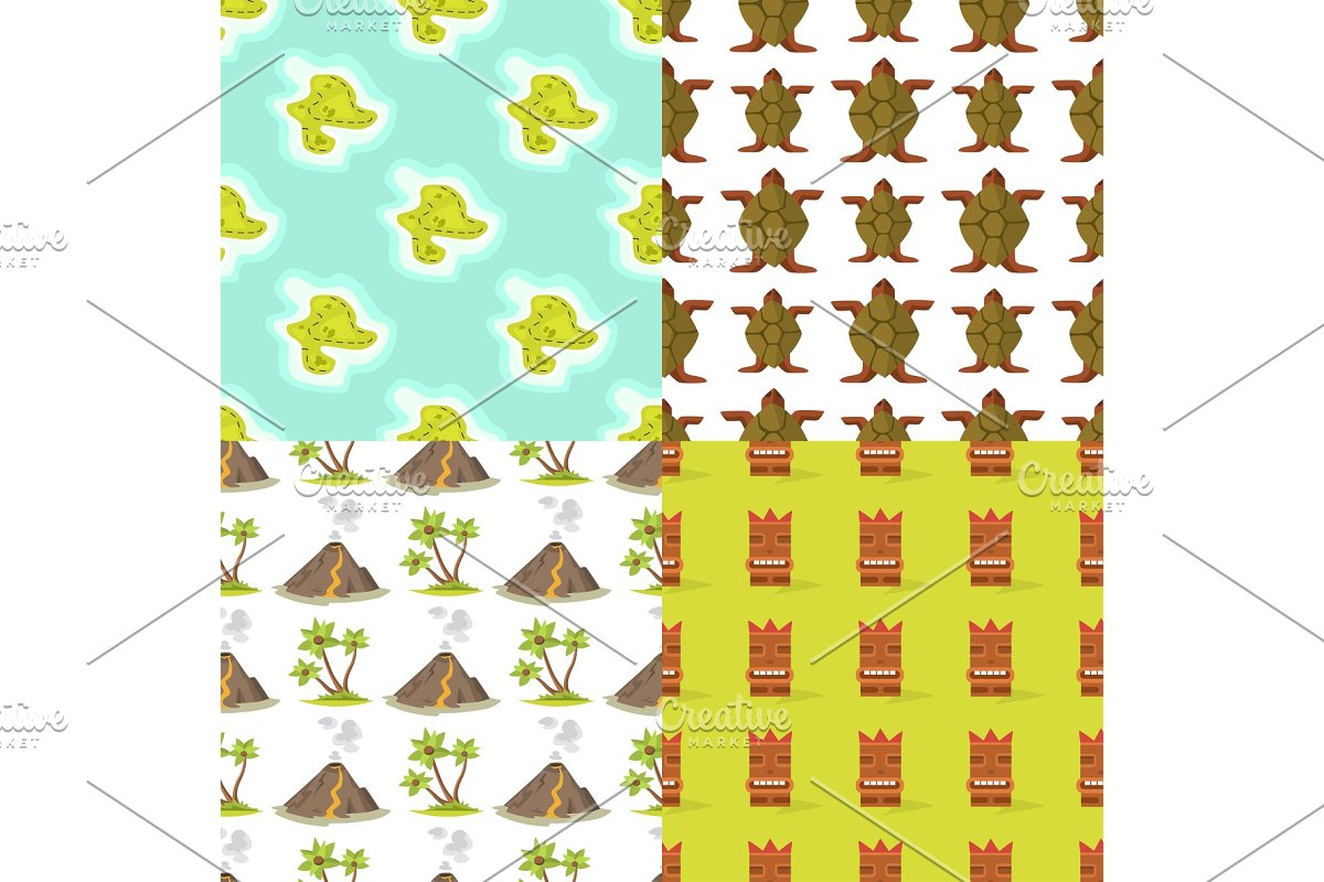 Cartoon tropical exotic island in ocean seamless pattern background exotic lagoon map caribbean aerial sprite seascape tourism paradise coast vector illustration. in Illustrations - product preview 8