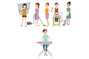 Housewifes homemaker woman cute cleaning cartoon girl housewifery female wife character vector illustration.