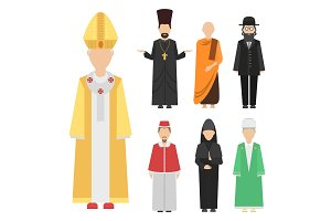 Religion people characters vector group of different nationalities human wearing traditional clothes