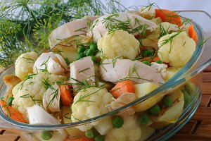 Boiled vegetables with chicken