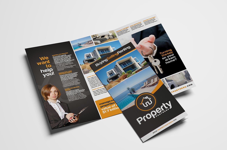 Real Estate TriFold Brochure Brochure Templates Creative Market - Real estate tri fold brochure template