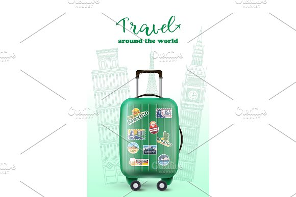 Colorful Green Luggage In Travel Banner