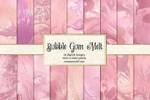 Bubble Gum Melt digital paper