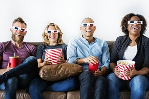 Group of friends watching a movie