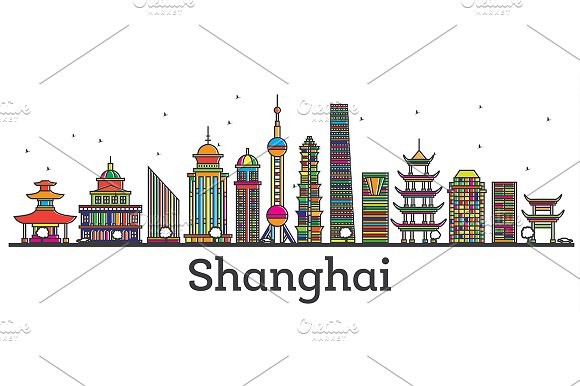 Outline Shanghai China City Skyline