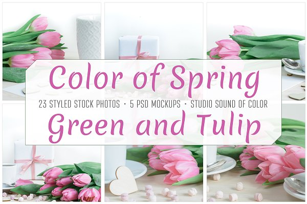 Spring tulip desktop mockup bundle