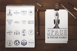 Space badge + 3 fonts.