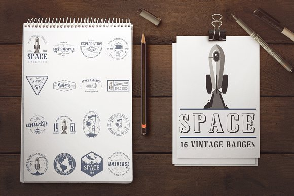 Space Badge 3 Fonts
