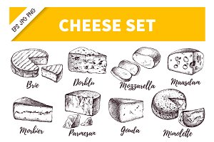 Hand Drawn Cheese Vector Set