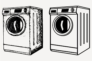washing machine set vector SVG PNG