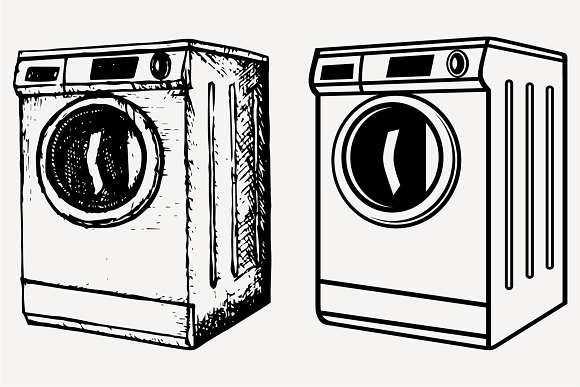 Washing Machine Set Vector SVG PNG