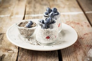 Chia seed pudding made with blueberr