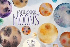 Moons Watercolor Clip Art