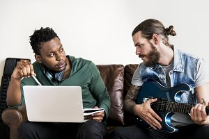 Musicians in a songwriting process