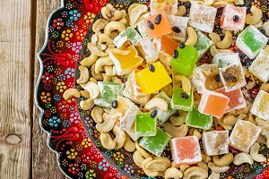 Turkish delight with colorful chocol