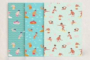 Swimming people patterns