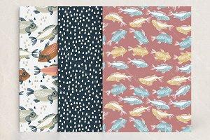 Seamless fish patterns