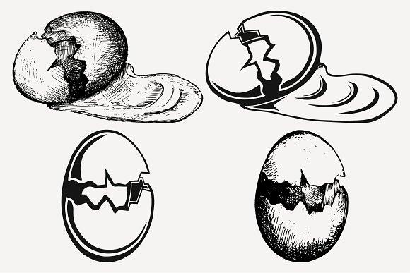 Broken Egg Set Vector SVG PNG DXF