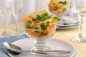Celery salad with carrot and apple