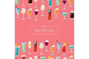 Lets Get Drink Poster with Cocktails and Champagne