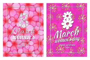 Greeting Card Design 8 March Womens Day Postcards