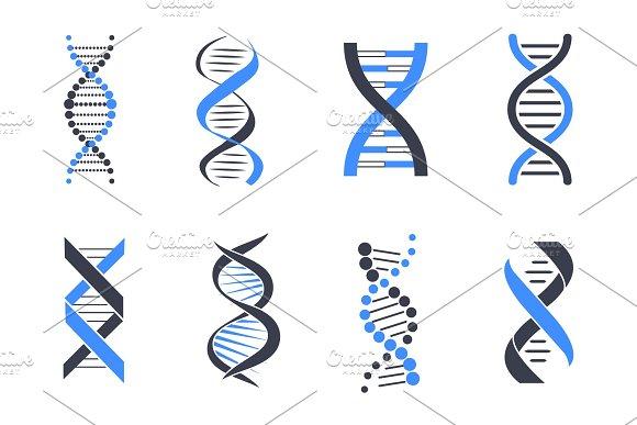 DNA Helix Patterns Colorful Vector Illustration