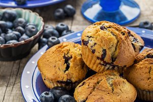 Homemade muffins with blueberries on