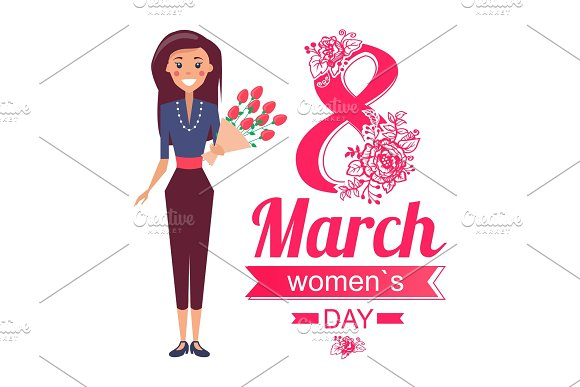 8 Of March Women's Day Poster With Woman Vector