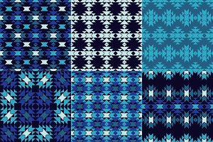 Ethnic boho Blue seamless pattern.