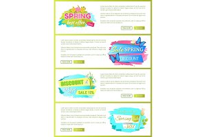 Spring Sale Advertisement Labels on Web Posters