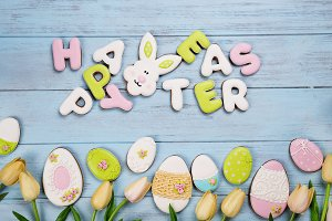 Easter cookies letter Happy Easter a