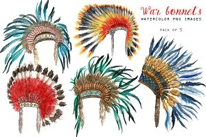 Native American war bonnets clipart